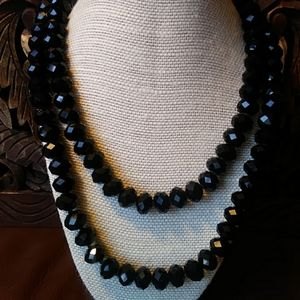 Black Crystal Statement Necklace
